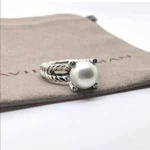 David Yurman pearl diamond ring sterling silver